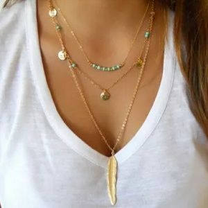 Fun Feather 3 Chain Necklace